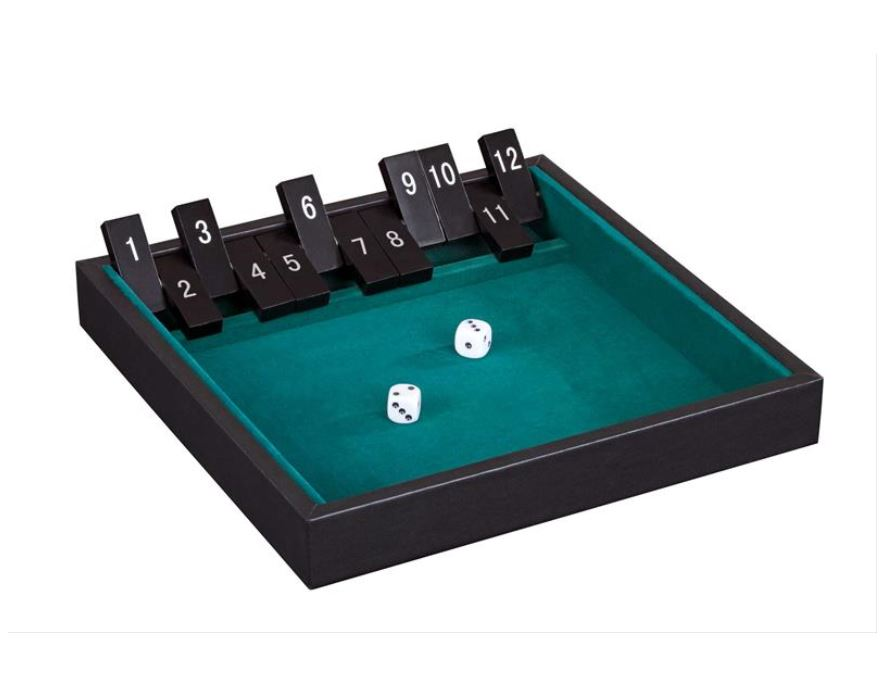 Igra Shut the box 12 cifer <br> Umetno usnje