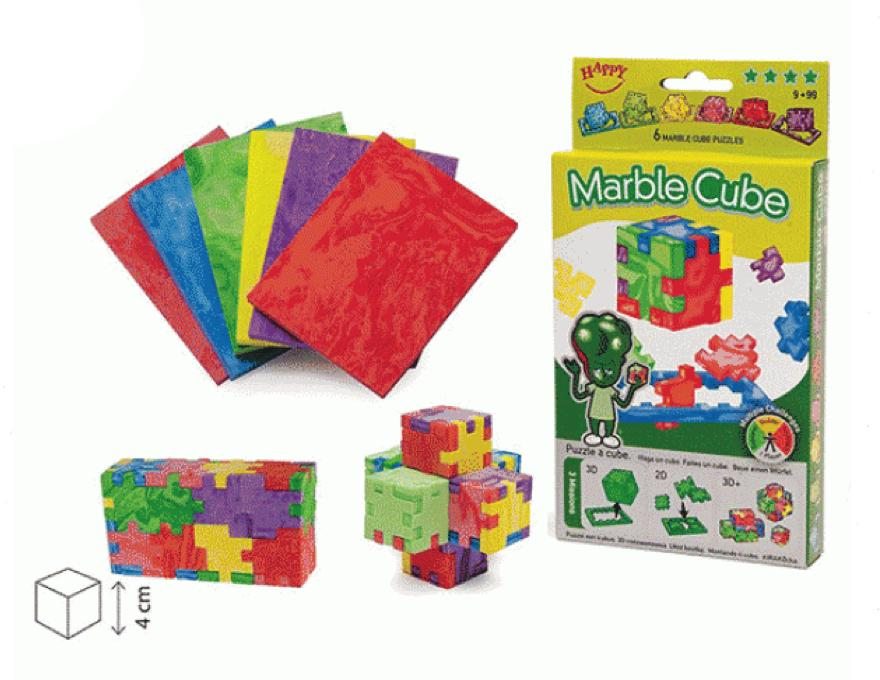 Happy Cube - Marble - 3D - 6 pack