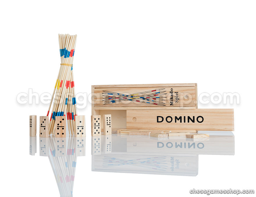 Domino and Mikado in a wooden box