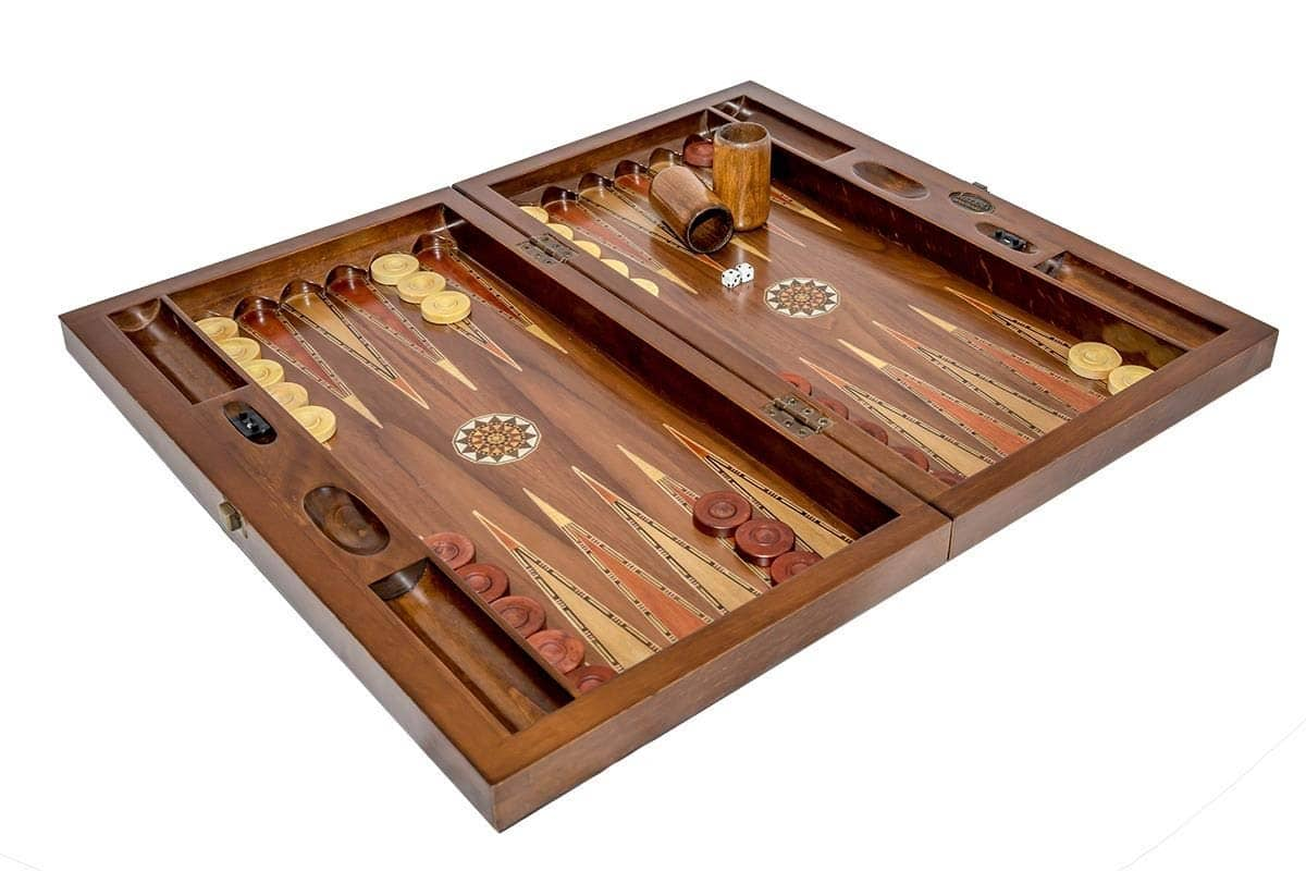 Backgammon Set Mosaic<br>Folding Walnut Board