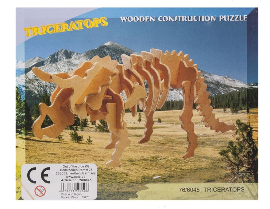 Wood 3D puzzle Triceratops