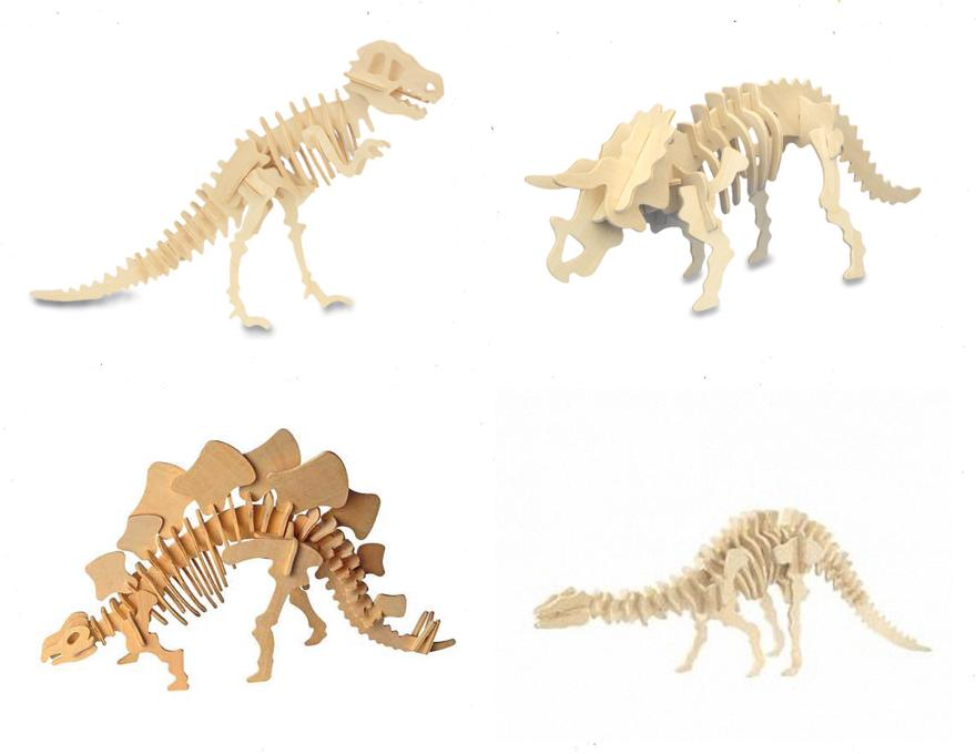 Pack of 3D wooden puzzles Dinosaurus